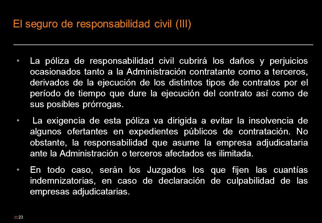 23 El seguro de responsabilidad civil (III) La póliza de responsabilidad civil cubrirá los daños y perjuicios ocasionados tanto a la Administración co