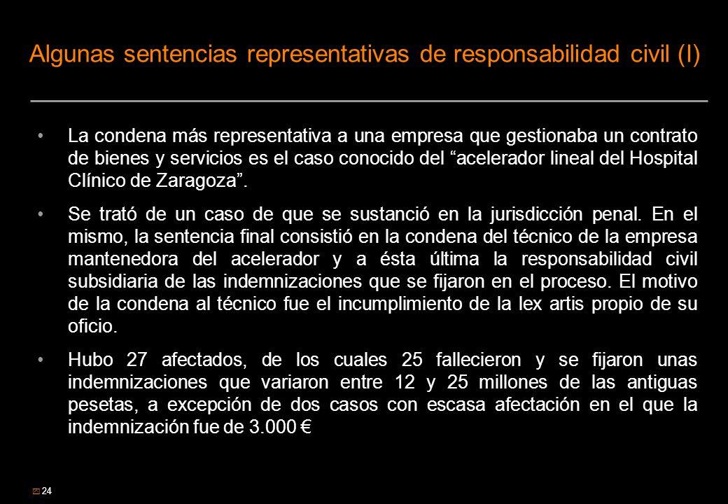 24 Algunas sentencias representativas de responsabilidad civil (I) La condena más representativa a una empresa que gestionaba un contrato de bienes y