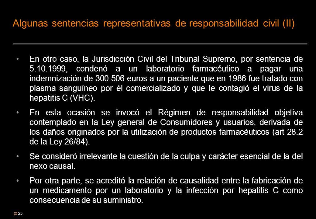 25 Algunas sentencias representativas de responsabilidad civil (II) En otro caso, la Jurisdicción Civil del Tribunal Supremo, por sentencia de 5.10.19