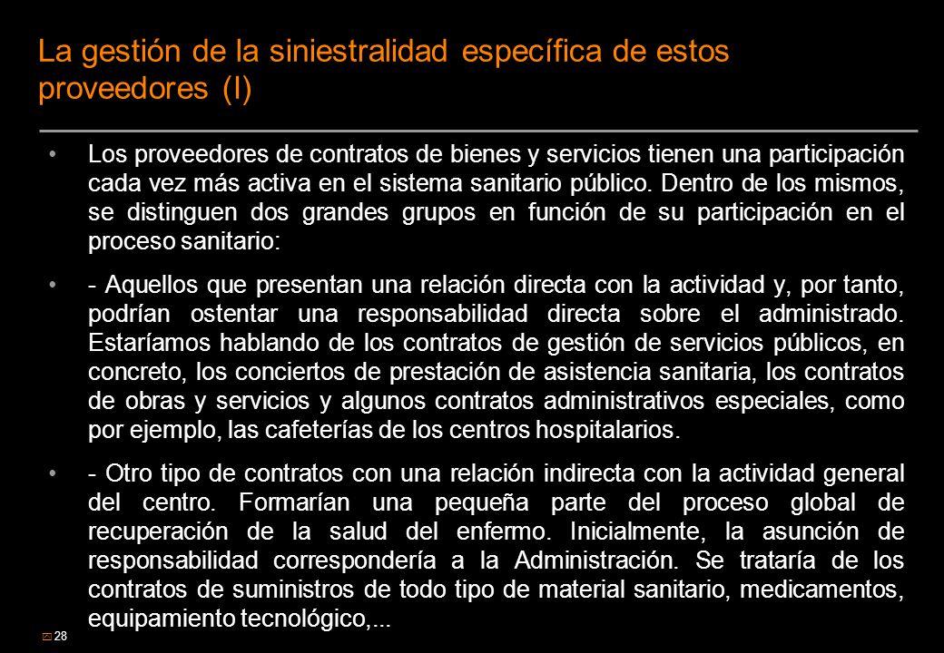 28 La gestión de la siniestralidad específica de estos proveedores (I) Los proveedores de contratos de bienes y servicios tienen una participación cad