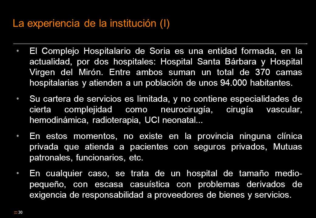 30 La experiencia de la institución (I) El Complejo Hospitalario de Soria es una entidad formada, en la actualidad, por dos hospitales: Hospital Santa