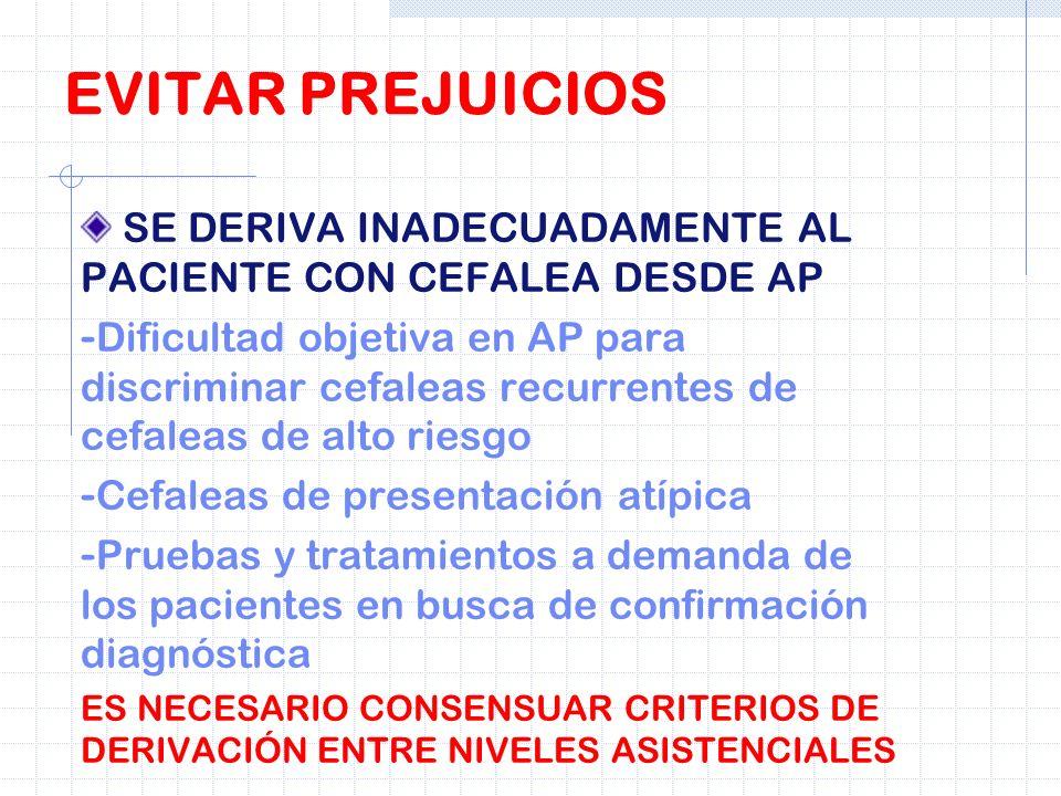 SE DERIVA INADECUADAMENTE AL PACIENTE CON CEFALEA DESDE AP - Dificultad objetiva en AP para discriminar cefaleas recurrentes de cefaleas de alto riesg