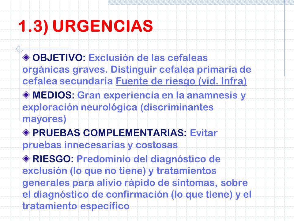 OBJETIVO: Exclusión de las cefaleas orgánicas graves. Distinguir cefalea primaria de cefalea secundaria Fuente de riesgo (vid. Infra) MEDIOS: Gran exp