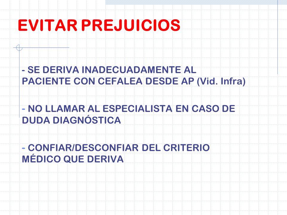 - SE DERIVA INADECUADAMENTE AL PACIENTE CON CEFALEA DESDE AP (Vid. Infra) - NO LLAMAR AL ESPECIALISTA EN CASO DE DUDA DIAGNÓSTICA - CONFIAR/DESCONFIAR