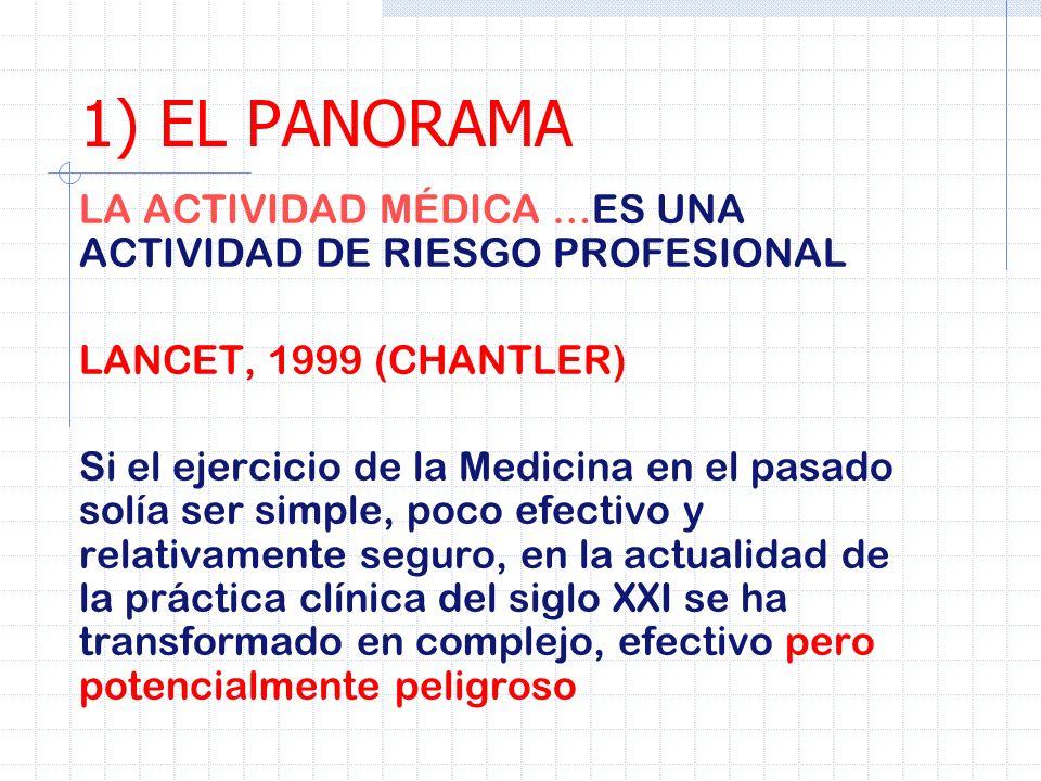 LA ACTIVIDAD MÉDICA …ES UNA ACTIVIDAD DE RIESGO PROFESIONAL LANCET, 1999 (CHANTLER) Si el ejercicio de la Medicina en el pasado solía ser simple, poco