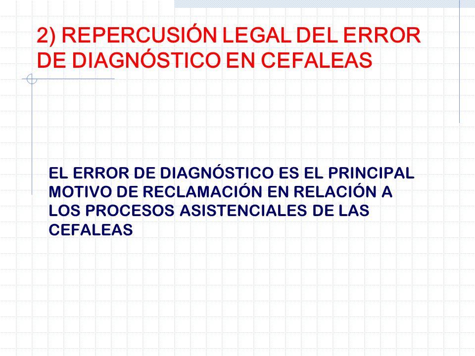 EL ERROR DE DIAGNÓSTICO ES EL PRINCIPAL MOTIVO DE RECLAMACIÓN EN RELACIÓN A LOS PROCESOS ASISTENCIALES DE LAS CEFALEAS 2) REPERCUSIÓN LEGAL DEL ERROR