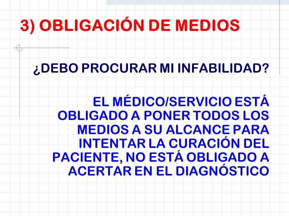 3) OBLIGACIÓN DE MEDIOS ¿DEBO PROCURAR MI INFABILIDAD? EL MÉDICO/SERVICIO ESTÁ OBLIGADO A PONER TODOS LOS MEDIOS A SU ALCANCE PARA INTENTAR LA CURACIÓ