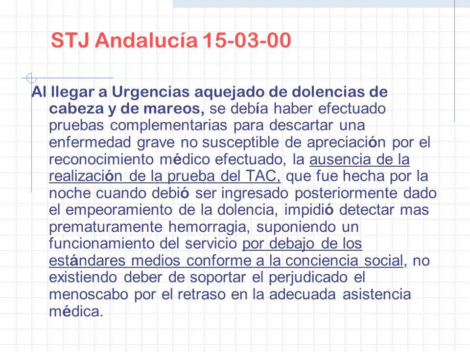 STJ Andalucía 15-03-00 Al llegar a Urgencias aquejado de dolencias de cabeza y de mareos, se deb í a haber efectuado pruebas complementarias para desc