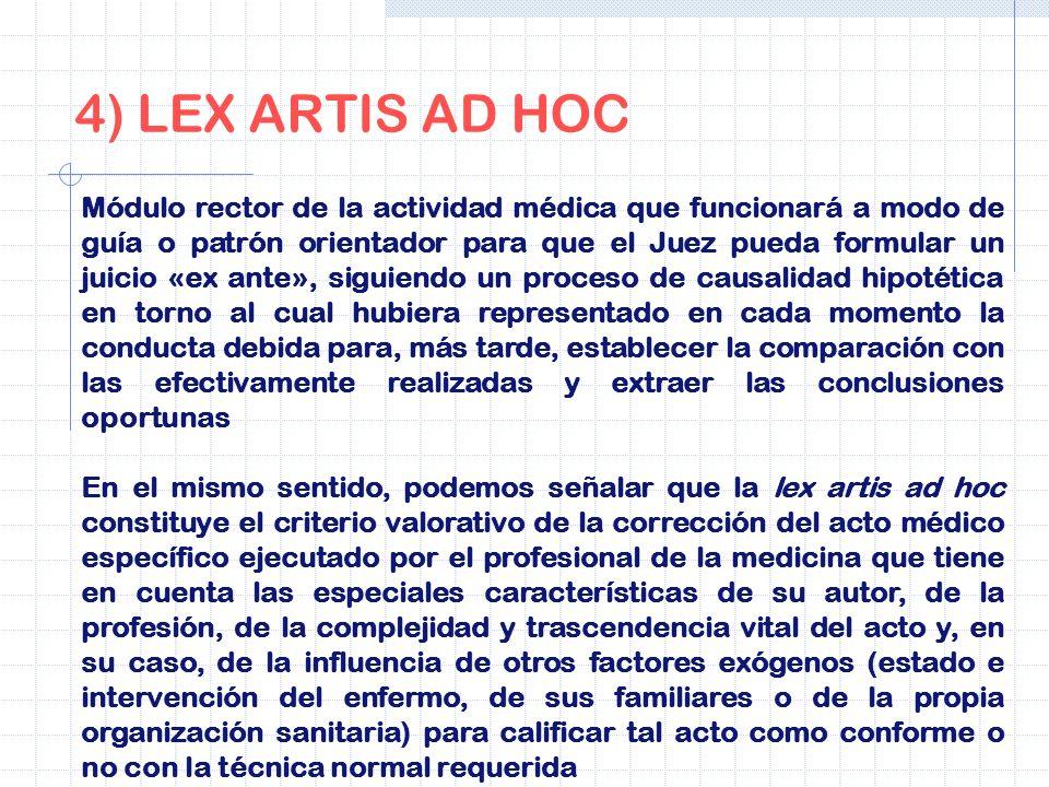 4) LEX ARTIS AD HOC Módulo rector de la actividad médica que funcionará a modo de guía o patrón orientador para que el Juez pueda formular un juicio «