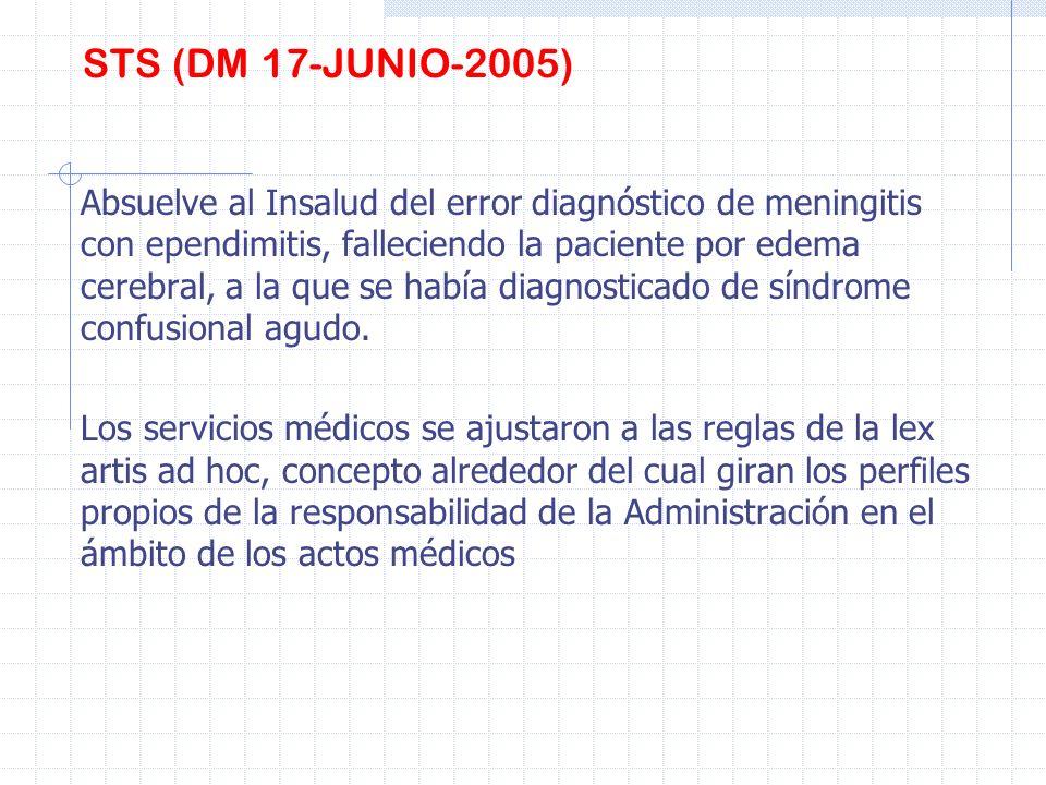 STS (DM 17-JUNIO-2005) Absuelve al Insalud del error diagnóstico de meningitis con ependimitis, falleciendo la paciente por edema cerebral, a la que s