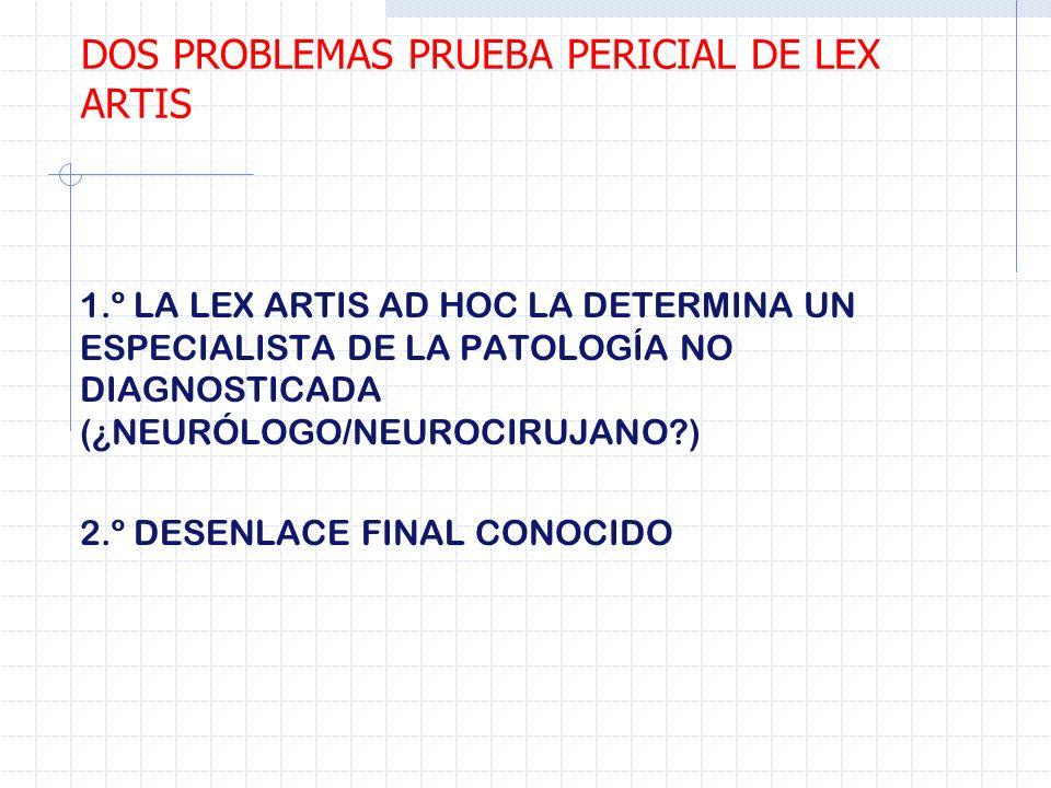 1.º LA LEX ARTIS AD HOC LA DETERMINA UN ESPECIALISTA DE LA PATOLOGÍA NO DIAGNOSTICADA (¿NEURÓLOGO/NEUROCIRUJANO?) 2.º DESENLACE FINAL CONOCIDO DOS PRO