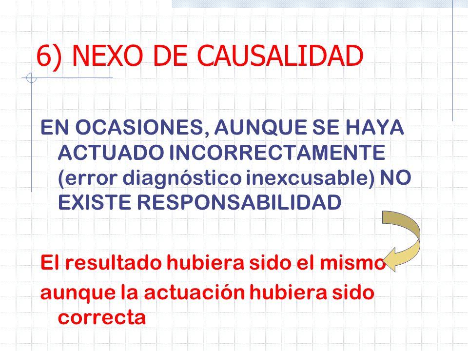 6) NEXO DE CAUSALIDAD EN OCASIONES, AUNQUE SE HAYA ACTUADO INCORRECTAMENTE (error diagnóstico inexcusable) NO EXISTE RESPONSABILIDAD El resultado hubi
