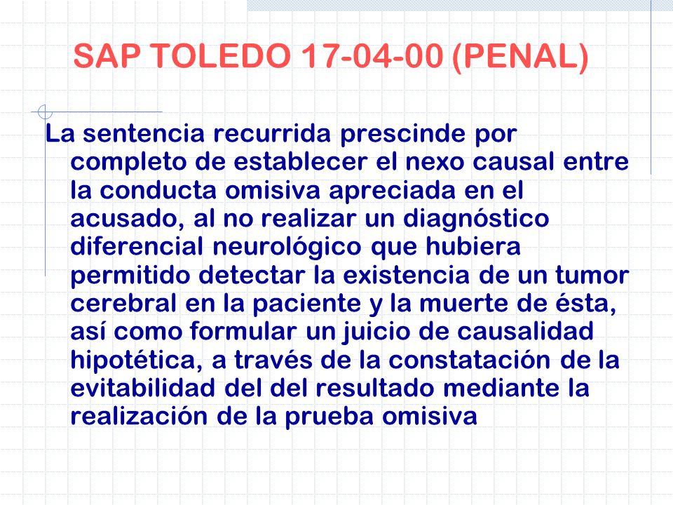 SAP TOLEDO 17-04-00 (PENAL) La sentencia recurrida prescinde por completo de establecer el nexo causal entre la conducta omisiva apreciada en el acusa