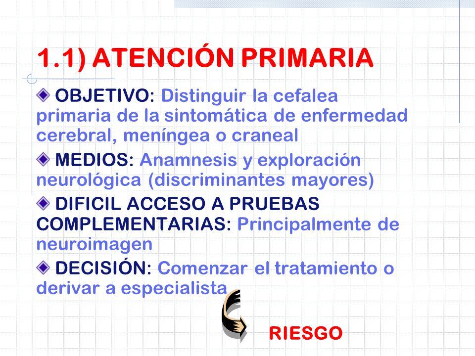 SON DE DIFICIL DIAGNÓSTICO: 90% cefalea primaria (migraña, cefalea de tensión etc), 9% cefalea crónica diaria con abuso de medicación a causa cefalea primaria mal tratada.