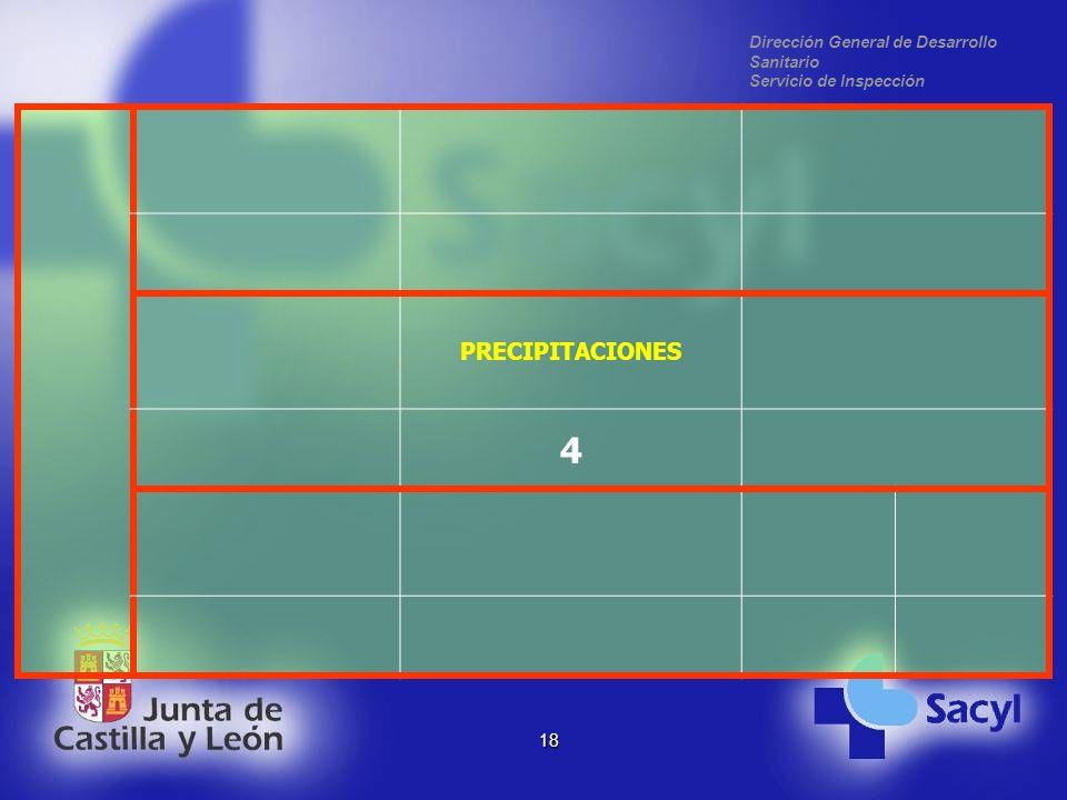 Dirección General de Desarrollo Sanitario Servicio de Inspección 18 PRECIPITACIONES 4