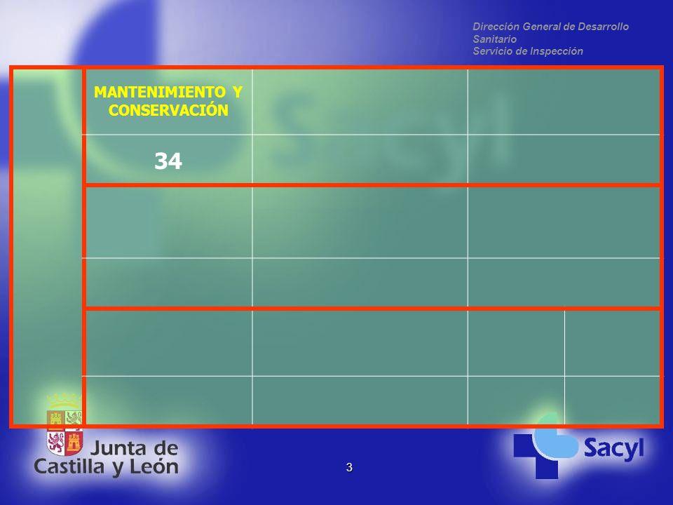 Dirección General de Desarrollo Sanitario Servicio de Inspección 3 MANTENIMIENTO Y CONSERVACIÓN 34