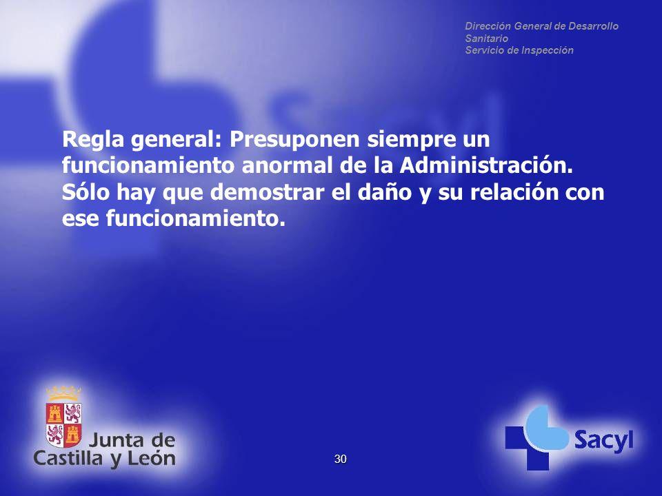 Dirección General de Desarrollo Sanitario Servicio de Inspección 30 Regla general: Presuponen siempre un funcionamiento anormal de la Administración.