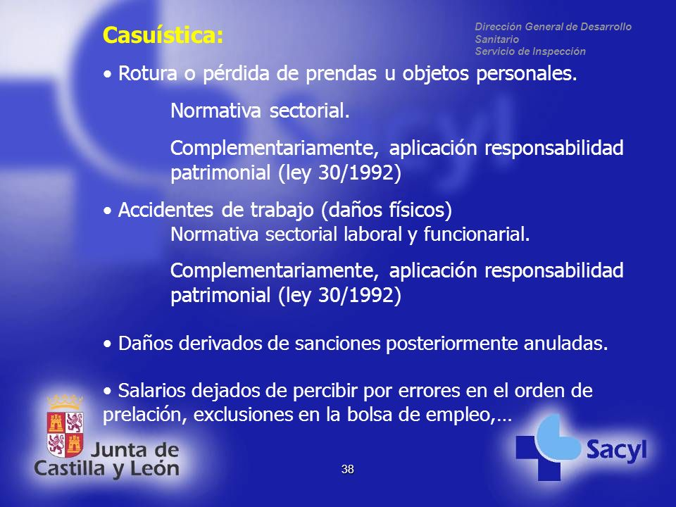 Dirección General de Desarrollo Sanitario Servicio de Inspección 38 Casuística: Rotura o pérdida de prendas u objetos personales.