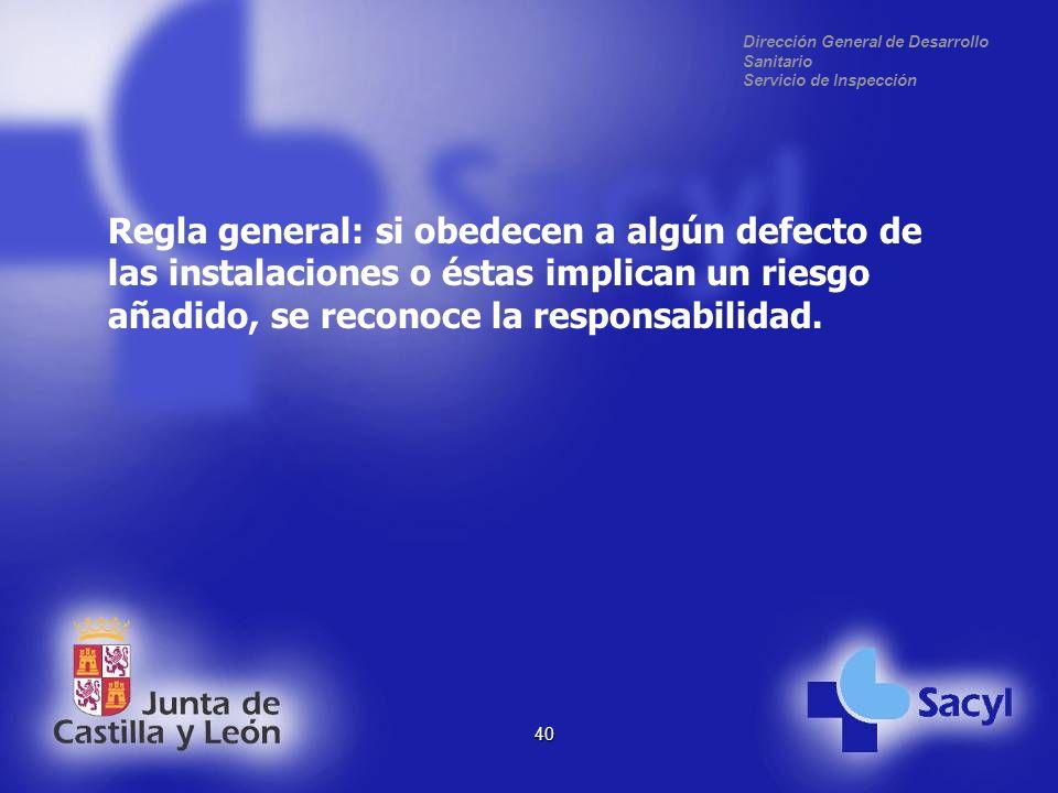 Dirección General de Desarrollo Sanitario Servicio de Inspección 40 Regla general: si obedecen a algún defecto de las instalaciones o éstas implican un riesgo añadido, se reconoce la responsabilidad.