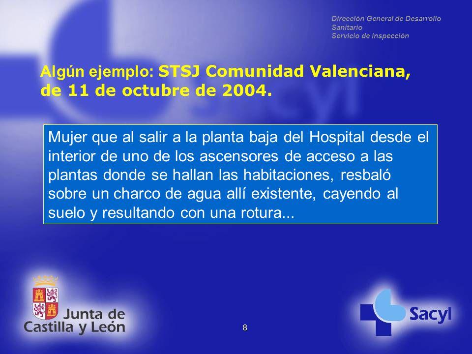 Dirección General de Desarrollo Sanitario Servicio de Inspección 8 Algún ejemplo: STSJ Comunidad Valenciana, de 11 de octubre de 2004.