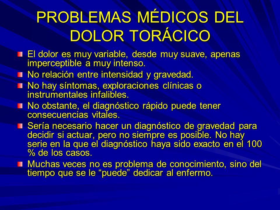 PROBLEMAS MÉDICOS DEL DOLOR TORÁCICO El dolor es muy variable, desde muy suave, apenas imperceptible a muy intenso.