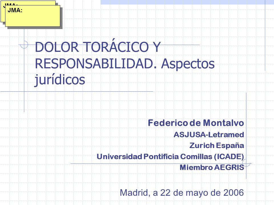 DOLOR TORÁCICO Y RESPONSABILIDAD. Aspectos jurídicos Federico de Montalvo ASJUSA-Letramed Zurich España Universidad Pontificia Comillas (ICADE) Miembr