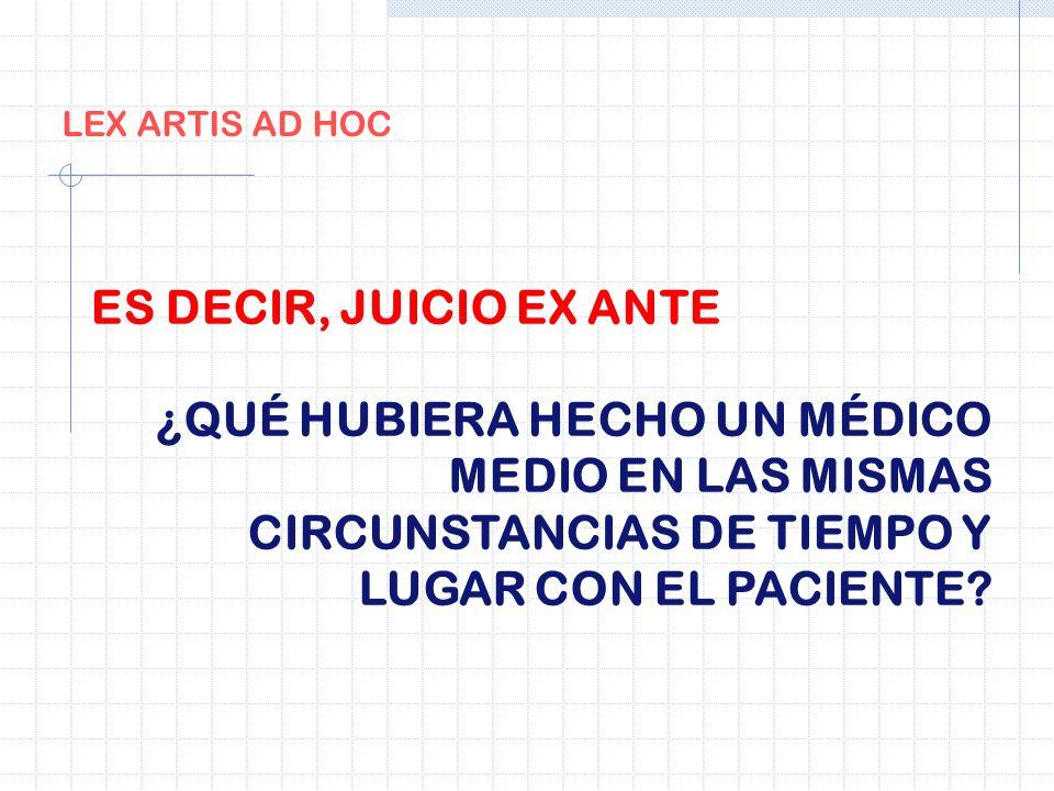 LEX ARTIS AD HOC ES DECIR, JUICIO EX ANTE ¿QUÉ HUBIERA HECHO UN MÉDICO MEDIO EN LAS MISMAS CIRCUNSTANCIAS DE TIEMPO Y LUGAR CON EL PACIENTE?