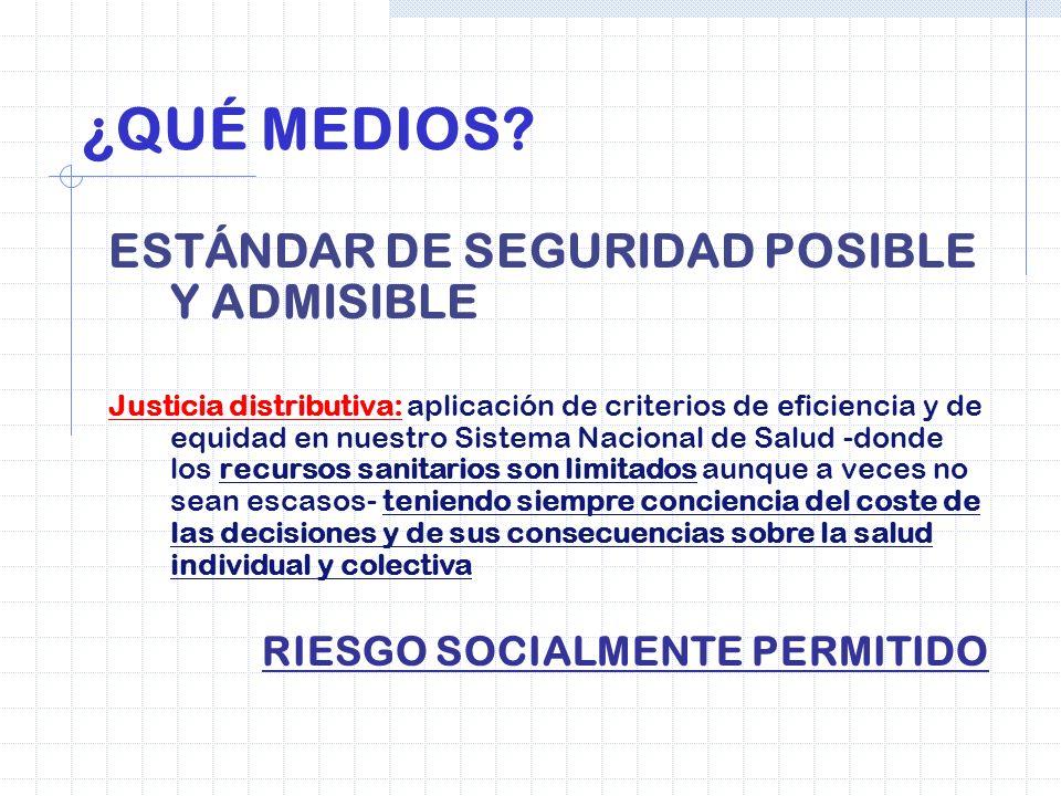 ¿QUÉ MEDIOS? ESTÁNDAR DE SEGURIDAD POSIBLE Y ADMISIBLE Justicia distributiva: aplicación de criterios de eficiencia y de equidad en nuestro Sistema Na