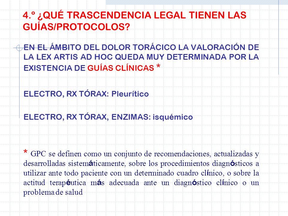 4.º ¿QUÉ TRASCENDENCIA LEGAL TIENEN LAS GUÍAS/PROTOCOLOS? EN EL ÁMBITO DEL DOLOR TORÁCICO LA VALORACIÓN DE LA LEX ARTIS AD HOC QUEDA MUY DETERMINADA P