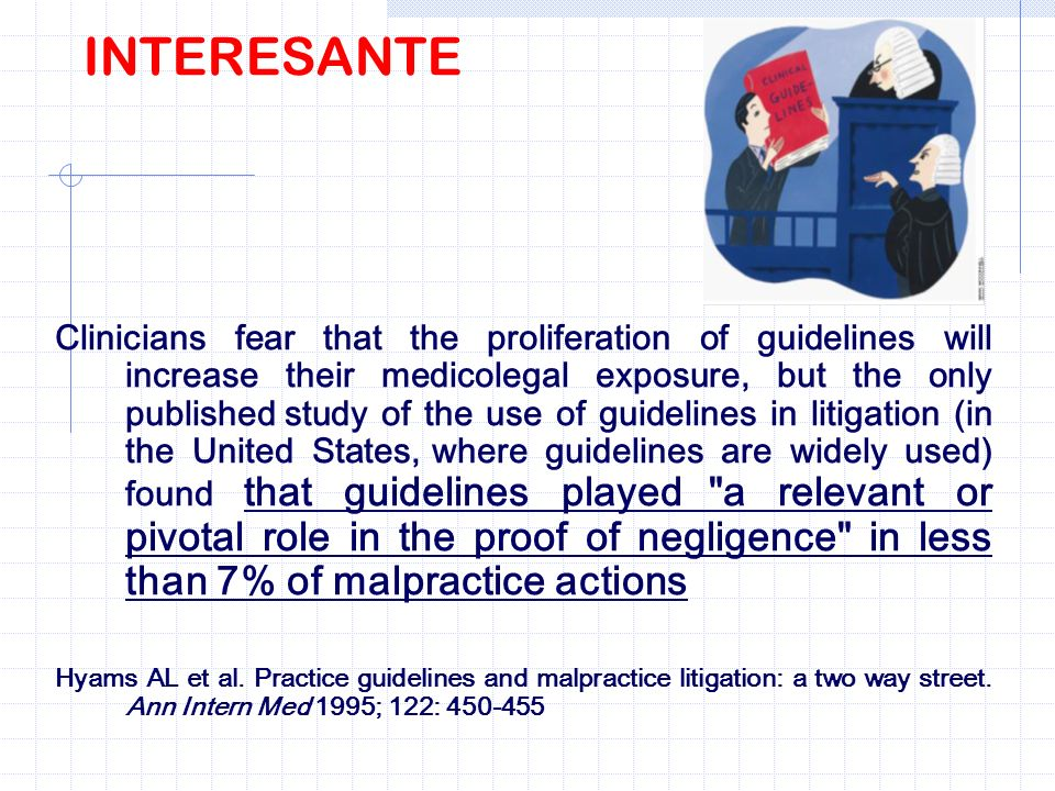 INTERESANTE Clinicians fear that the proliferation of guidelines will increase their medicolegal exposure, but the only published study of the use of