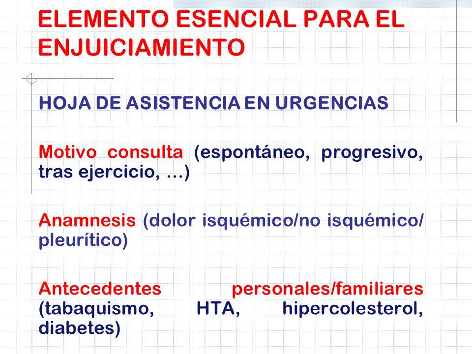 ELEMENTO ESENCIAL PARA EL ENJUICIAMIENTO HOJA DE ASISTENCIA EN URGENCIAS Motivo consulta (espontáneo, progresivo, tras ejercicio,...) Anamnesis (dolor