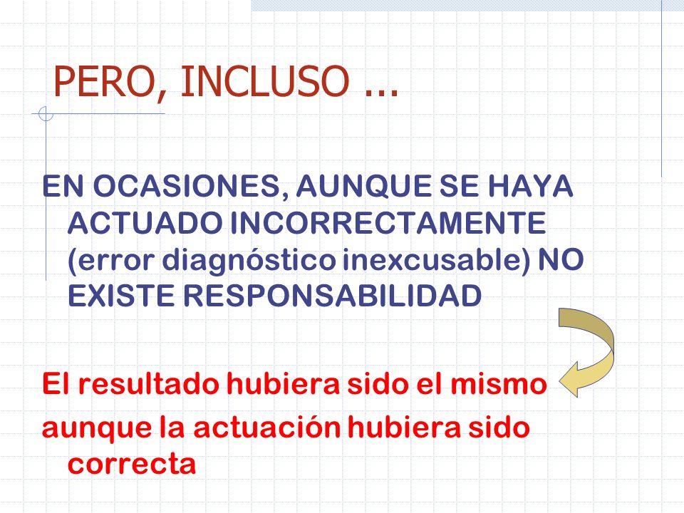 PERO, INCLUSO... EN OCASIONES, AUNQUE SE HAYA ACTUADO INCORRECTAMENTE (error diagnóstico inexcusable) NO EXISTE RESPONSABILIDAD El resultado hubiera s