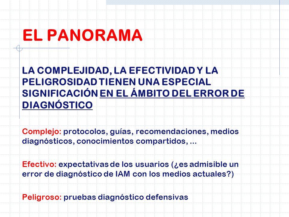 LA COMPLEJIDAD, LA EFECTIVIDAD Y LA PELIGROSIDAD TIENEN UNA ESPECIAL SIGNIFICACIÓN EN EL ÁMBITO DEL ERROR DE DIAGNÓSTICO Complejo: protocolos, guías,