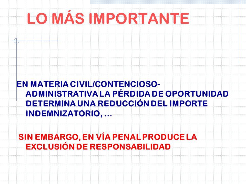 LO MÁS IMPORTANTE EN MATERIA CIVIL/CONTENCIOSO- ADMINISTRATIVA LA PÉRDIDA DE OPORTUNIDAD DETERMINA UNA REDUCCIÓN DEL IMPORTE INDEMNIZATORIO,... SIN EM
