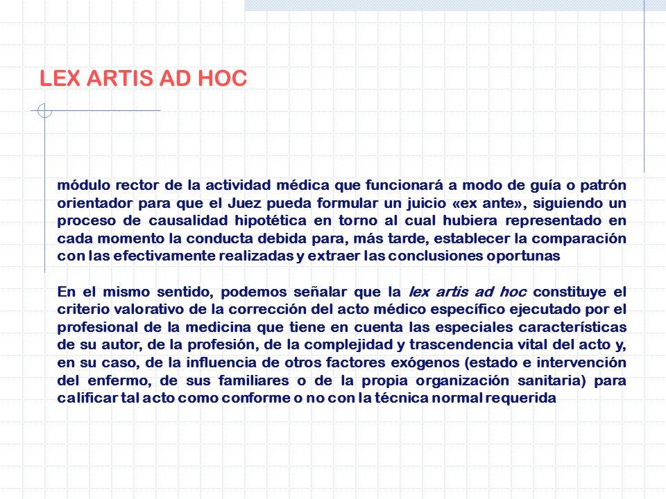 LEX ARTIS AD HOC módulo rector de la actividad médica que funcionará a modo de guía o patrón orientador para que el Juez pueda formular un juicio «ex