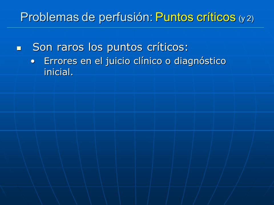 Problemas de perfusión: Puntos críticos (y 2) Son raros los puntos críticos: Son raros los puntos críticos: Errores en el juicio clínico o diagnóstico