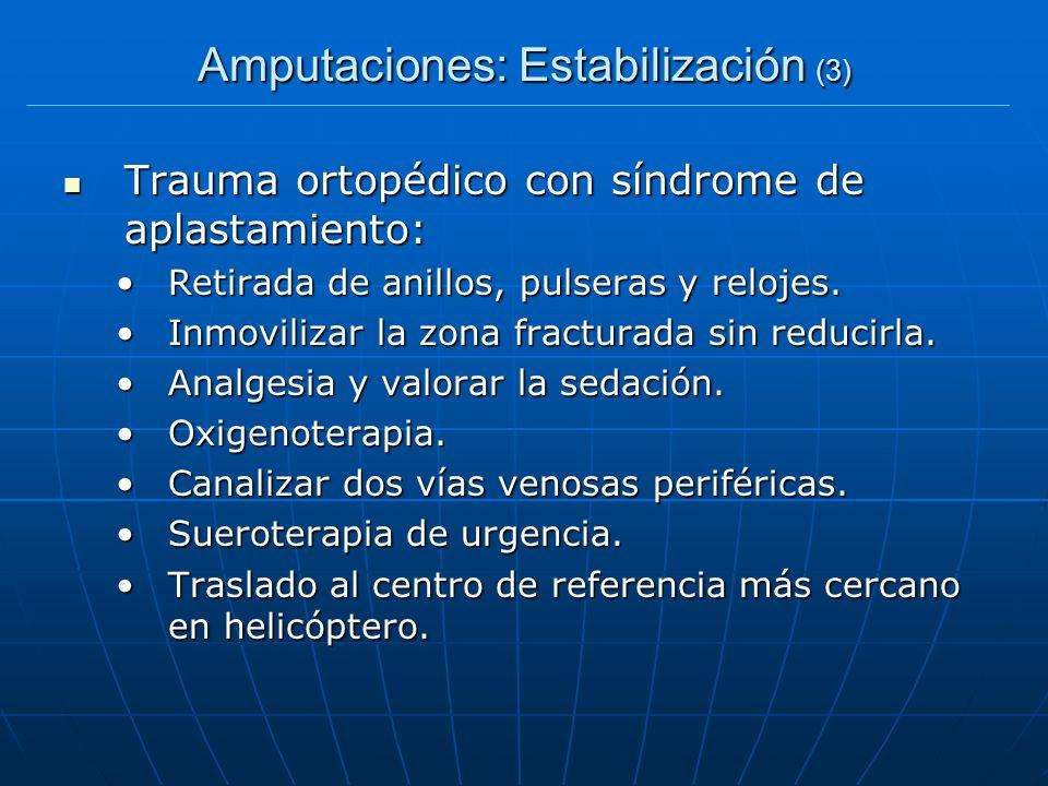Amputaciones: Estabilización (3) Trauma ortopédico con síndrome de aplastamiento: Trauma ortopédico con síndrome de aplastamiento: Retirada de anillos
