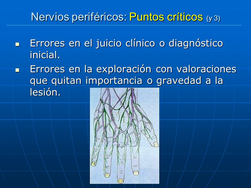 Nervios periféricos: Puntos críticos (y 3) Errores en el juicio clínico o diagnóstico inicial. Errores en el juicio clínico o diagnóstico inicial. Err