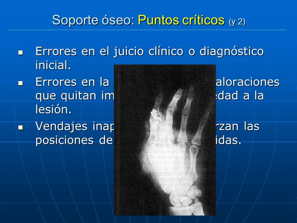 Soporte óseo: Puntos críticos (y 2) Errores en el juicio clínico o diagnóstico inicial. Errores en el juicio clínico o diagnóstico inicial. Errores en