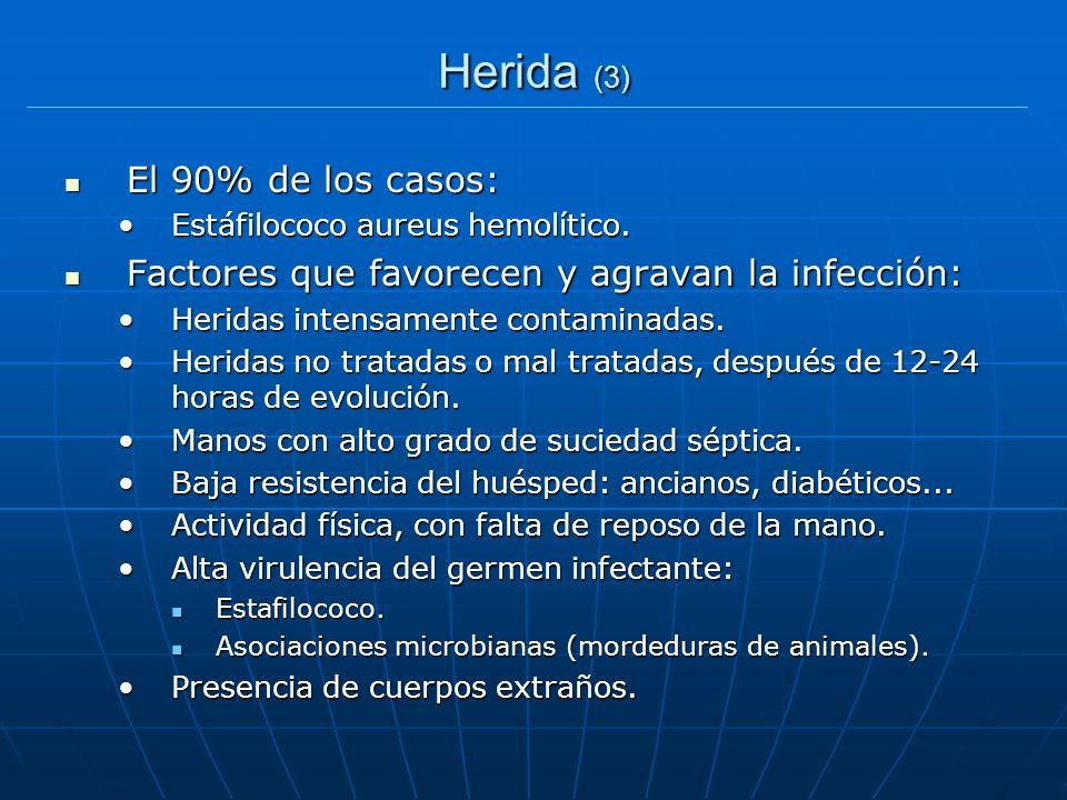 Herida (3) El 90% de los casos: El 90% de los casos: Estáfilococo aureus hemolítico.Estáfilococo aureus hemolítico. Factores que favorecen y agravan l