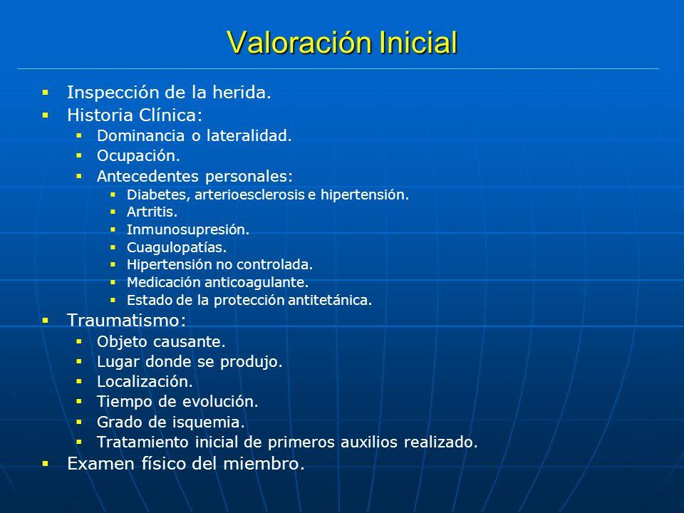 Valoración Inicial Inspección de la herida. Historia Clínica: Dominancia o lateralidad. Ocupación. Antecedentes personales: Diabetes, arterioesclerosi