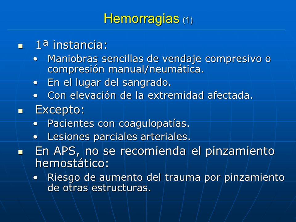 Hemorragias (1) 1ª instancia: 1ª instancia: Maniobras sencillas de vendaje compresivo o compresión manual/neumática.Maniobras sencillas de vendaje com