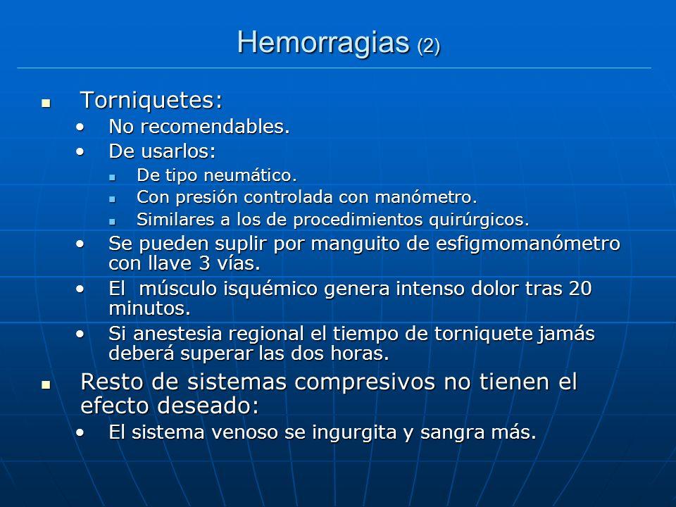 Hemorragias (2) Torniquetes: Torniquetes: No recomendables.No recomendables. De usarlos:De usarlos: De tipo neumático. De tipo neumático. Con presión