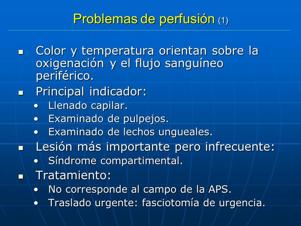 Problemas de perfusión (1) Color y temperatura orientan sobre la oxigenación y el flujo sanguíneo periférico. Color y temperatura orientan sobre la ox