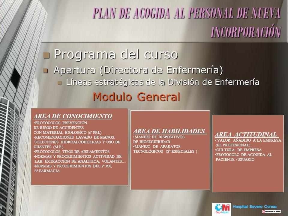 Programa del curso Programa del curso Apertura (Directora de Enfermería) Apertura (Directora de Enfermería) Líneas estratégicas de la División de Enfe