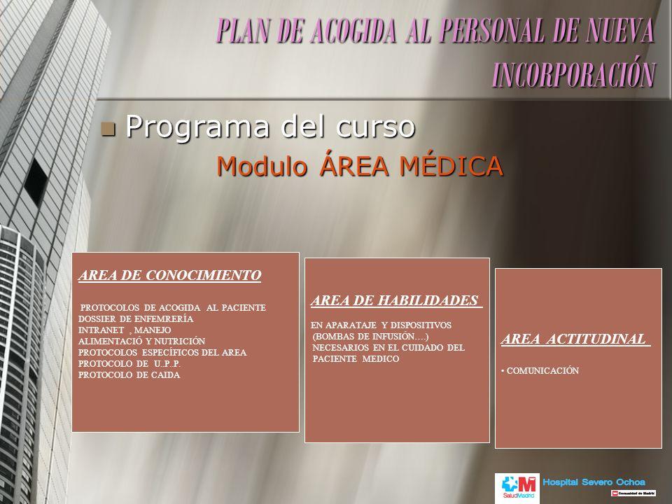 Programa del curso Programa del curso Modulo ÁREA MÉDICA Modulo ÁREA MÉDICA PLAN DE ACOGIDA AL PERSONAL DE NUEVA INCORPORACIÓN AREA DE CONOCIMIENTO PR