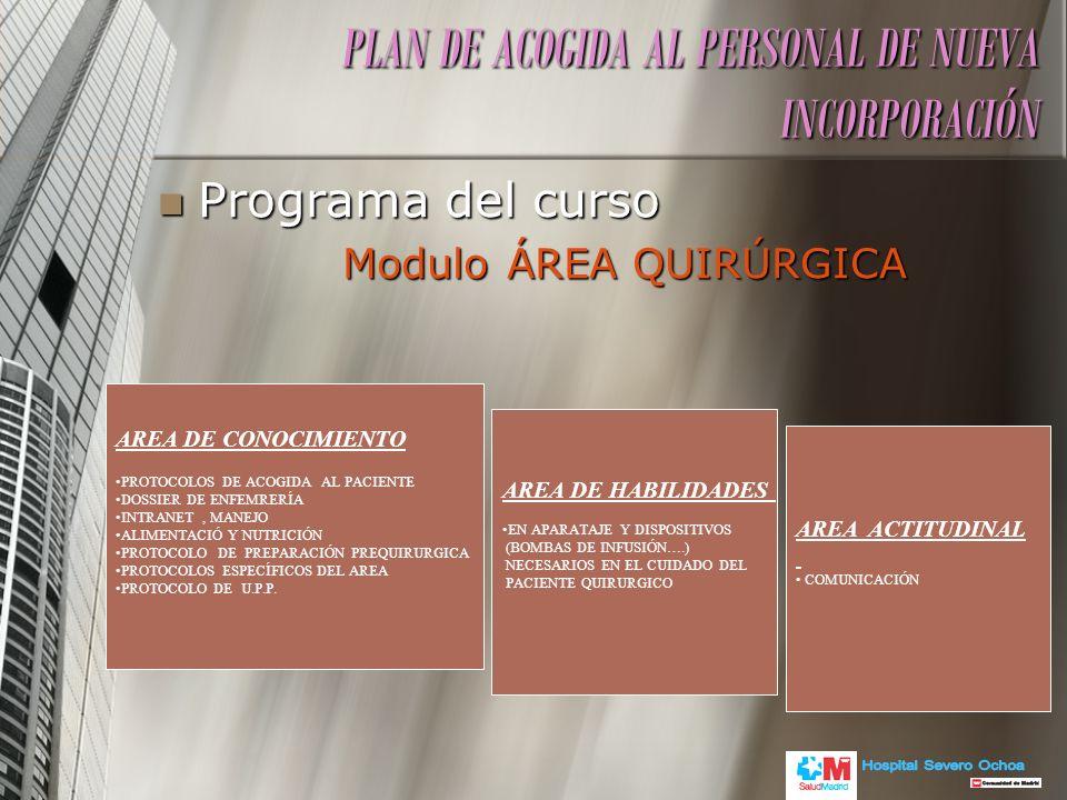 Programa del curso Programa del curso Modulo ÁREA QUIRÚRGICA Modulo ÁREA QUIRÚRGICA PLAN DE ACOGIDA AL PERSONAL DE NUEVA INCORPORACIÓN AREA DE CONOCIM