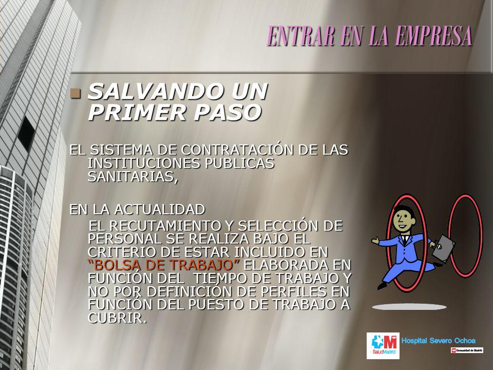 ENTRAR EN LA EMPRESA SALVANDO UN PRIMER PASO SALVANDO UN PRIMER PASO EL SISTEMA DE CONTRATACIÓN DE LAS INSTITUCIONES PUBLICAS SANITARIAS, EN LA ACTUAL