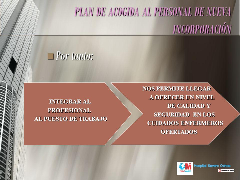 Por tanto: Por tanto: PLAN DE ACOGIDA AL PERSONAL DE NUEVA INCORPORACIÓN INTEGRAR AL PROFESIONAL AL PUESTO DE TRABAJO NOS PERMITE LLEGAR NOS PERMITE L