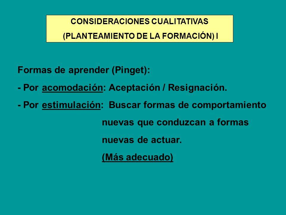 Formas de aprender (Pinget): - Por acomodación: Aceptación / Resignación. - Por estimulación: Buscar formas de comportamiento nuevas que conduzcan a f